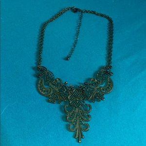 Black gothic filigree collar necklace
